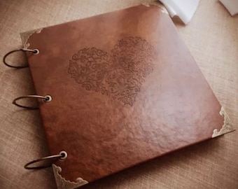 DIY PU Cover Vintage Heart Kraft Paper Photo Craft Album Wedding Baby Scrapbook