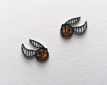 Golden Snitch Harry Potter Earrings Shrink Plastic Handmade
