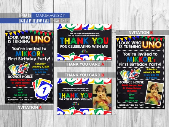 picture relating to Printable Uno Cards called UNO Card Video game 1st Birthday Invitation, Printable Electronic Invitation and Thank Yourself Card