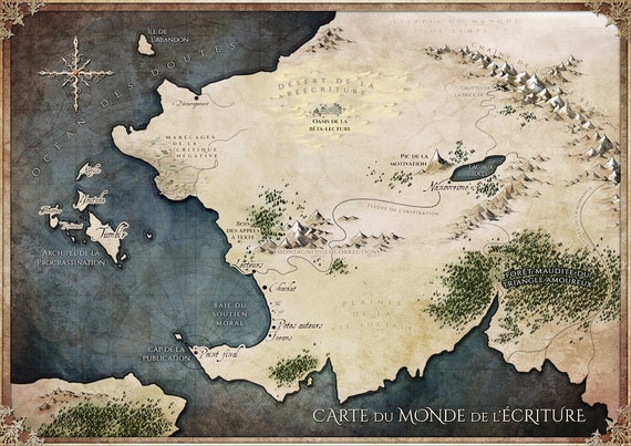 A3 Poster World Map Of The Writing