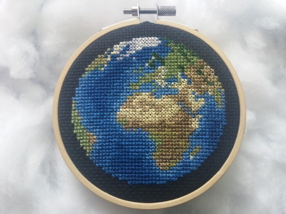 Planet Earth Cross Stitch Pattern PDF Instant Download - Europe/Africa View Earth - Counted Cross Stitch Chart - Map Cross Stitch Pattern
