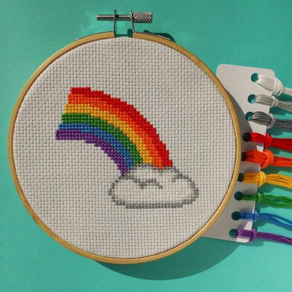 Cloud rainbow embroidery kit