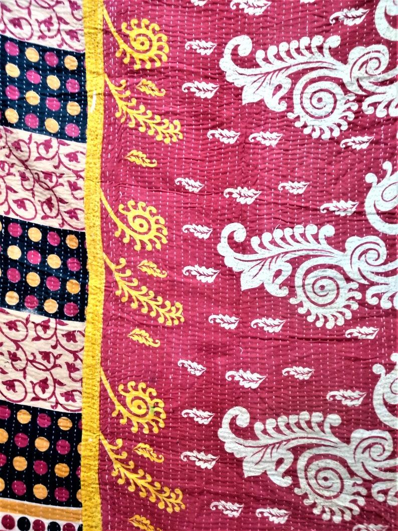 Homemade Vintage Kantha Indische Quilt Throw Bedspread Gudri Ralli India Artisan Twin Cotton Old Sari Reversible Boho Kantha Blanket