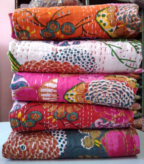 10 PCs Indian Kantha Quilts wholesale Lot Handmade Vintage Quilts Bedspread Boho