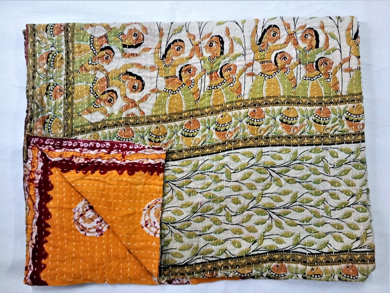 Indian Twin Size Orange Paisley Kantha Quilt Reversible Bedspread Throw Decor