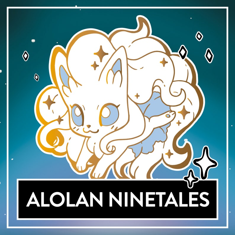PREORDER Alolan Ninetales Hard Enamel Pin  Cute Ninetales image 0