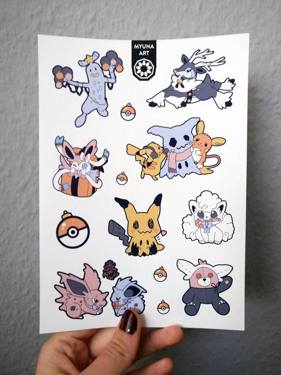Stickers Pokemon.Pokemon Winter Sticker Set Pokemon Stickers Winter Pokemon Sticker Set Pokemon Decals Cute Pokemon Stickers