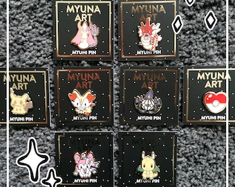 Pokemon Myuni Pins – Pokémon Hard Enamel Pins, Cute Pokemon Pins, Kawaii Art Pokemon Pins Chibi Style