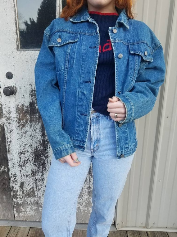 80's90's Vintage Denim Jacket Trucker Style Jean Jacket Women's Size S
