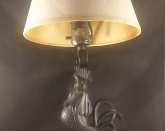 retro mid century black acrylic rooster cock lamp metal wall mount original vintage beige shade vintage lighting decor american 1950s usa - Mid Century Lamp