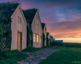 Photo print - midnight sun at the turf houses in Glaumbær, Iceland - High Quality print