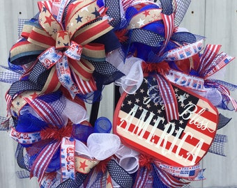4th July Wreath, Patriotic wreath, red, whit, blue