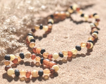 """Baltic AMBER  BRACELET or Necklace, Raw multi color NATURAL handmade baby bracelet length ~14 cm/ 5.5"""" perfect for baby boys and girls"""