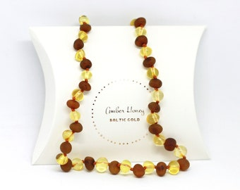 """Natural Baltic Amber Amber NECKLACE~32cm /12.5"""" Raw Caramel/ Polished Lemon color, safety knotted, Handmade Baby Shower New Mom Gift"""
