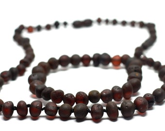 """Baltic AMBER Raw-unpolished cherry black color Handmade necklace for adult 18-24"""" length, charming gift set for Birthday, amber bracelet 7"""""""