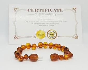 """Polished Baltic AMBER NECKLACE or baby BRACELET, Caramel color, ~ 32 cm 12.7"""".  Babyshower present for new mom - Charming Amber bracelet"""