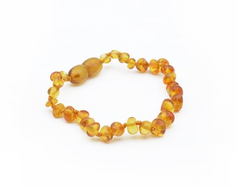 """Shiny BALTIC AMBER baby BRACELET ~ 14cm/5.5"""" or anklet 16 cm/ 6.3"""" safety knotted, Polished Honey Handmade Natural Amber present for new mom"""