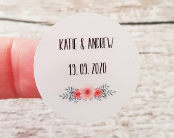 Wedding stickers, Favour stickers, Envelope seal stickers, Personalised stickers, Pink and coral flowers