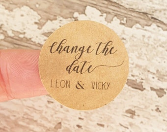 Change the date stickers, Envelope stickers, Personalised wedding stickers, White or kraft