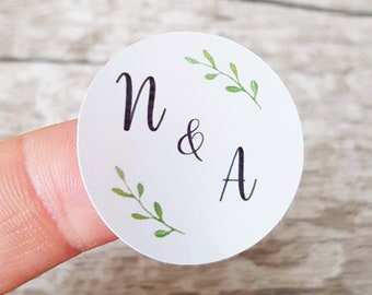 Round Wedding stickers, Favour stickers, Envelope seal stickers, Personalised stickers, Green fir