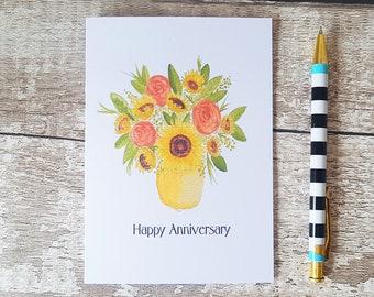 Sunflower card, Anniversary card, Hand painted card, Autumn flowers, Fall floral card, Watercolour flowers, Wedding anniversary, Floral card