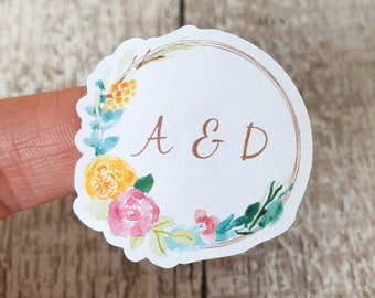 Floral Wedding Stickers with initials