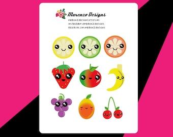 Cute Kawaii style fruit stickers