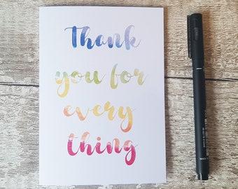 Rainbow thank you card, Teacher card, Leaving card, Thank you for everything, Colourful thank you card, Rainbow card, Appreciation card