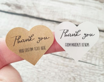 Personalised Thank You stickers, Custom text, Gloss white or kraft brown