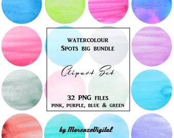 Watercolour Spots Big Bundle - Multicolour