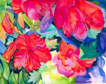 """Giclee print of the 1997 watercolour """"Flowers""""."""