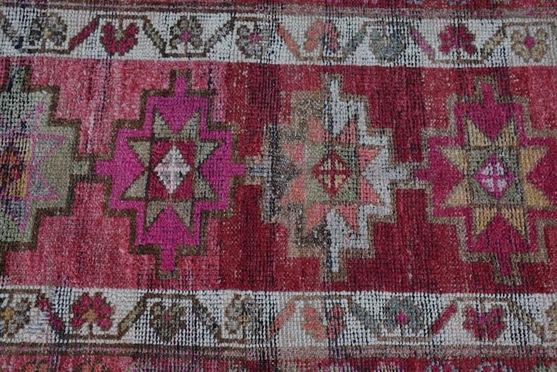 Turkish Rug Organic Kitchen Rug Hallway Carpet Runner Rug 6507 Vintage Rug Herki Rug Outdoor Rug 32x154 Inches Pink Carpet