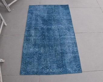 Vintage Rug, Small Rug, Turkish Rug, Home Decor Carpet, 31x51 inches Blue Rug, Handwoven Little Rugs, Wool Entry Rugs,  6856
