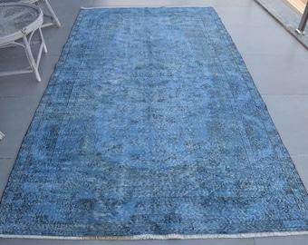 Vintage Rug, Large Rug, Turkish Rug, Antique Carpet, 65x111 inches Blue Carpet, Bohemian Salon Carpet, Handmade Oversize Rug,  6717