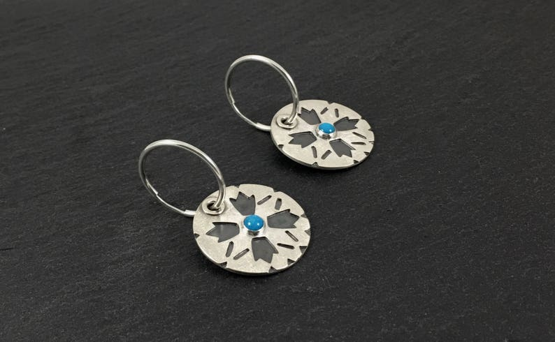 Silver and Turquoise Earrings Boho Round Disc Earrings image 0