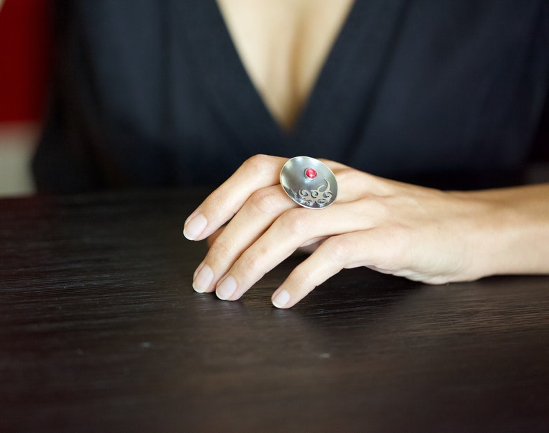 Sterling Silver Statement Ring with Ruby Stone Boho image 0