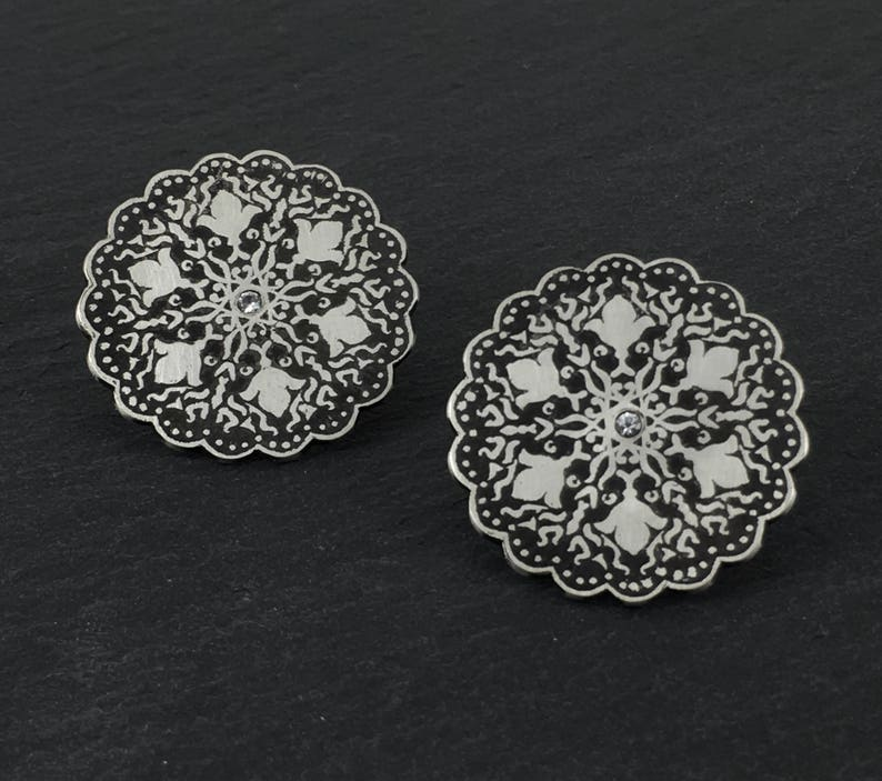 White Sapphire Earrings Etched Silver Studs Sapphire Black image 0