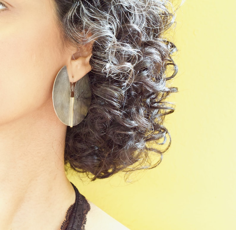 Geometric Large Sterling Silver & Gold Disc EarringsModern image 0