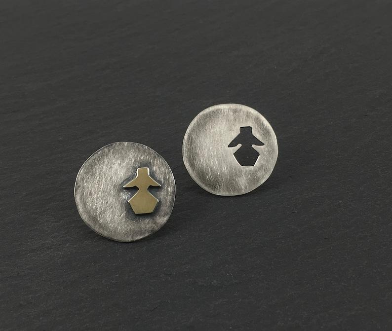 Mother Goddess Stud EarringsSterling Silver and 18K Gold image 0