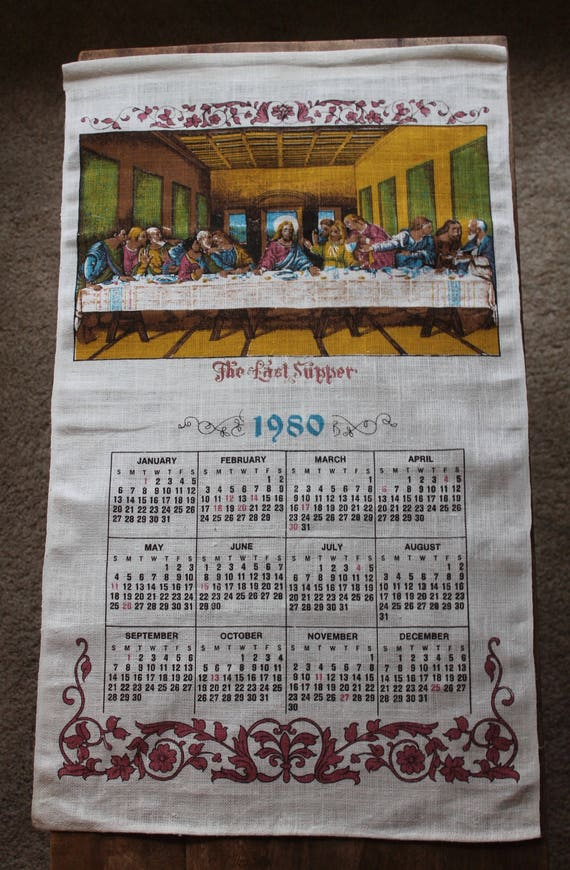 Vintage Linen Tea Towel 1980 Calendar The Last Supper Etsy