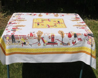 Vintage 1950s Novelty Family Gardening Tablecloth, Scarecrows, Chickens, Yellow Red Brown Black, 51 x 47, Mint Condition