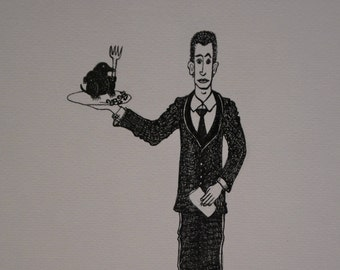 FANCY head, original drawing, ink, server, taupe, kitchen