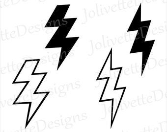 Lightning Bolt Bolts Thunder Storm Clip Art Clipart Design Svg Files Png File Eps Dxf Pdf Silhouette Cricut Cut