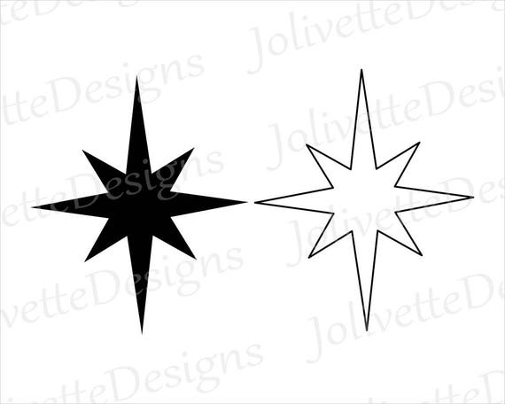 Christmas Star Silhouette.Christmas Star North Star Jesus Religion Religious Clip Art Clipart Design Svg Files Png Eps Dxf Pdf Silhouette Cricut Cut File