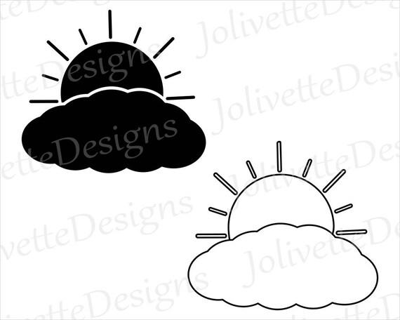 Line Art Of Sun : Sun clouds sunshine daylight daytime clip art clipart etsy