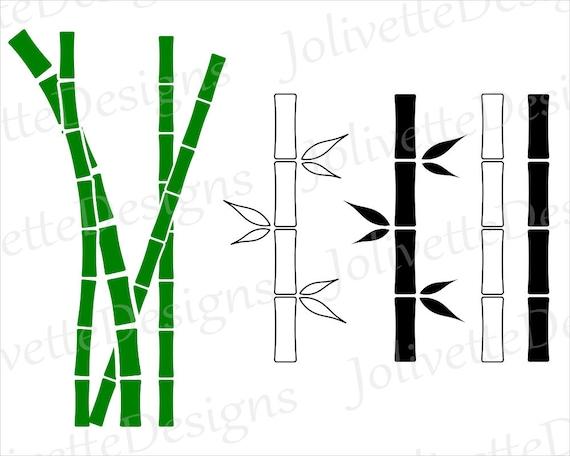 bamboo cane pole pole stick leaf clip art clipart rh etsy com