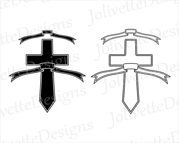Cross Banner Crosses Religious Fancy Scroll Clip Art Etsy