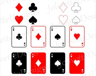 Playing Cards, Ace, Diamonds, Spades, Hearts, Clubs, Clip Art, Clipart, Design, Svg Files, Png, Eps, Dxf, Pdf, Silhouette, Cricut, Cut File