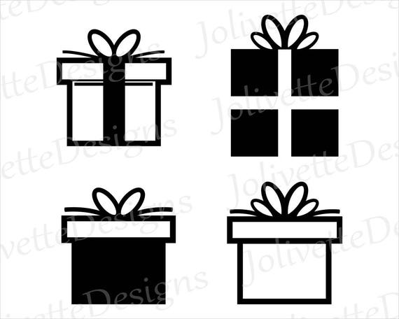 Christmas Gift Birthday Present Box Clip Art Clipart Design Svg Files Png Eps Files Dxf Files Pdf Files Silhouette Cricut Cut