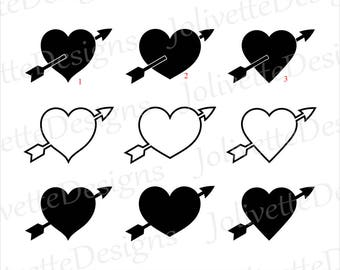 Heart, Arrow, Valentine, Love, Valentine's Day, Clip Art, Clipart, Design, Svg Files, Png Files, Eps, Dxf, Pdf, Silhouette, Cricut, Cut File